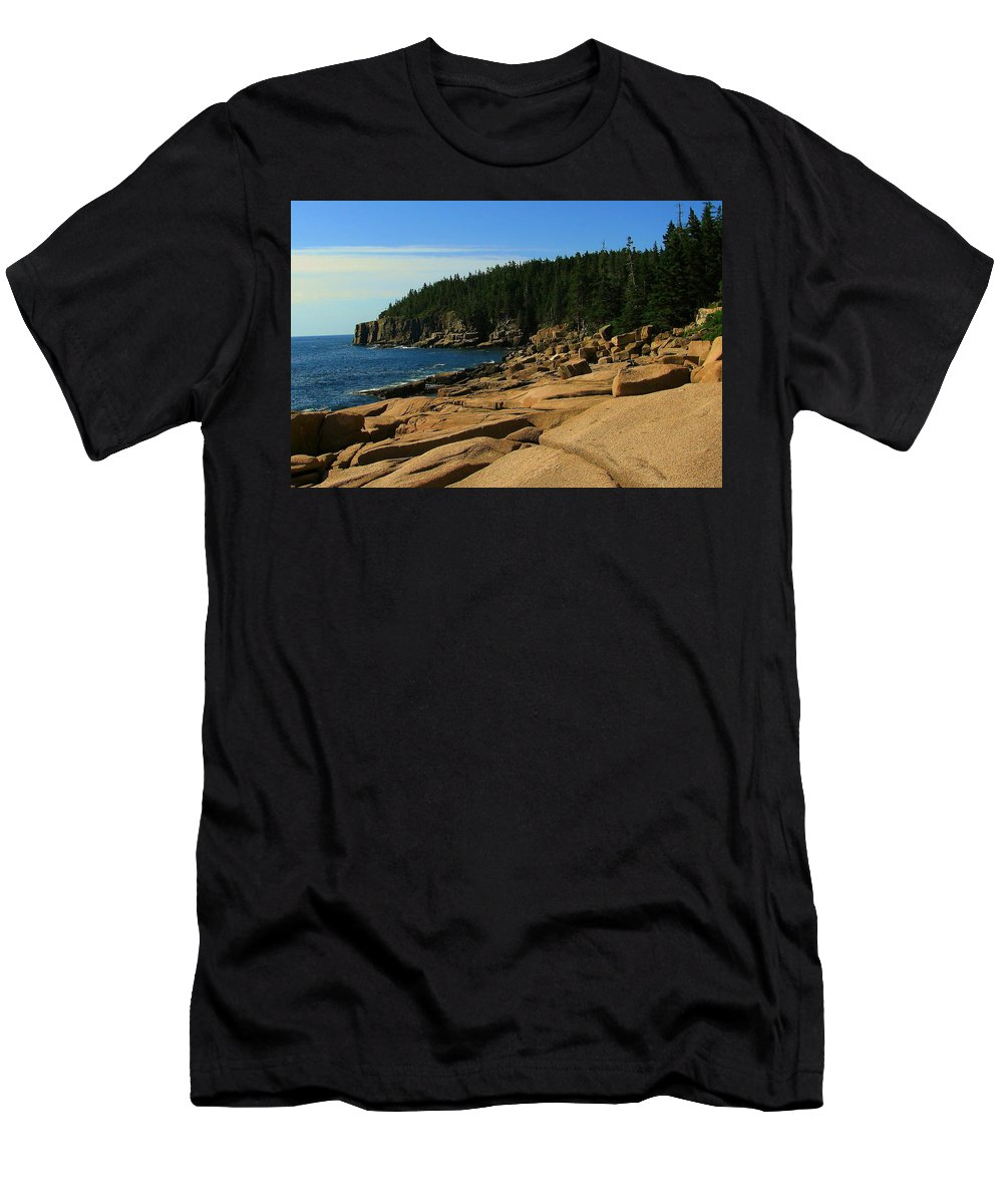 Otter Cliff Men's T-Shirt (Athletic Fit) featuring the photograph Otter Cliff by Jeff Heimlich