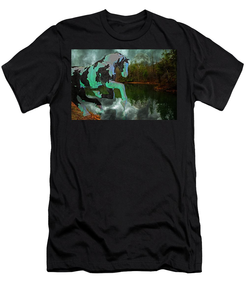 Otter Men's T-Shirt (Athletic Fit) featuring the mixed media Otter Lake Phantom by Betsy Knapp