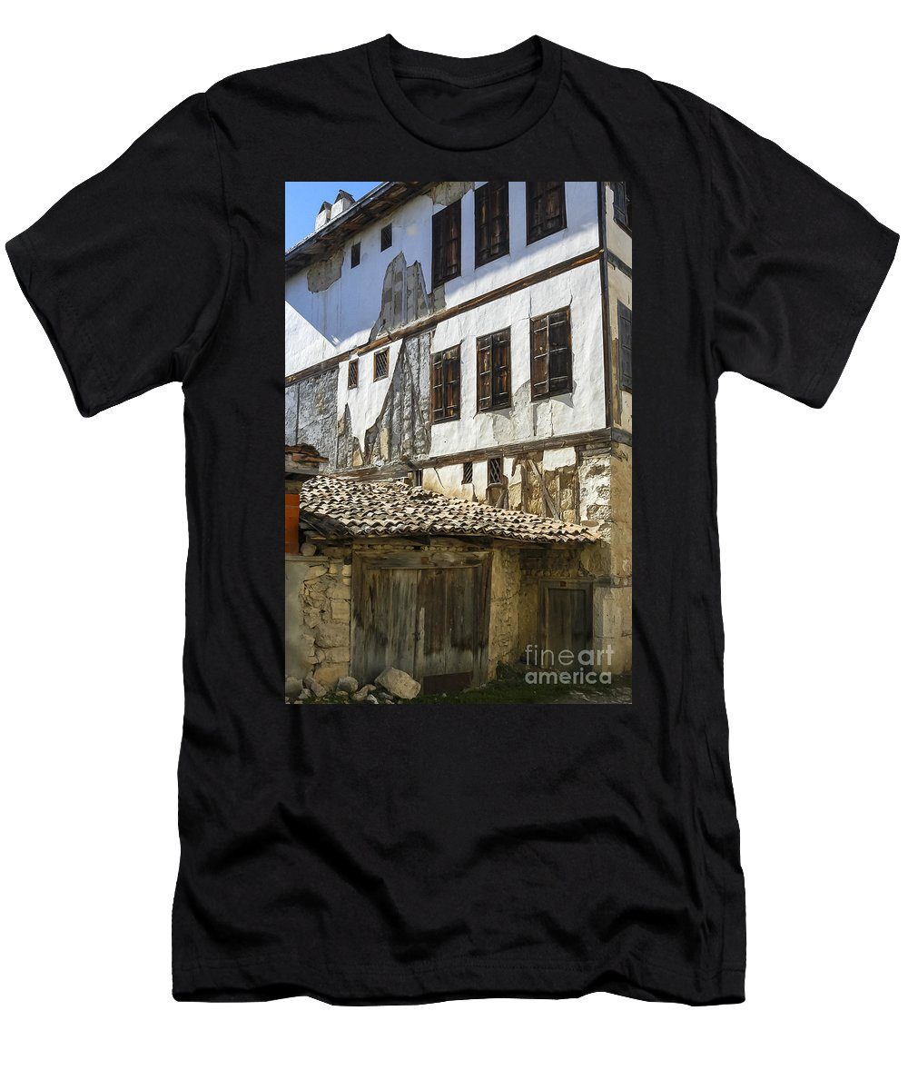 Ottoman House Houses Structure Structures Architecture Building Buildings Yoruk Village Safranbolu Turkey Cityscape Cityscapes Window Windows Shutter Shutters City Cities Villages Men's T-Shirt (Athletic Fit) featuring the photograph Ottoman Doors And Windows by Bob Phillips