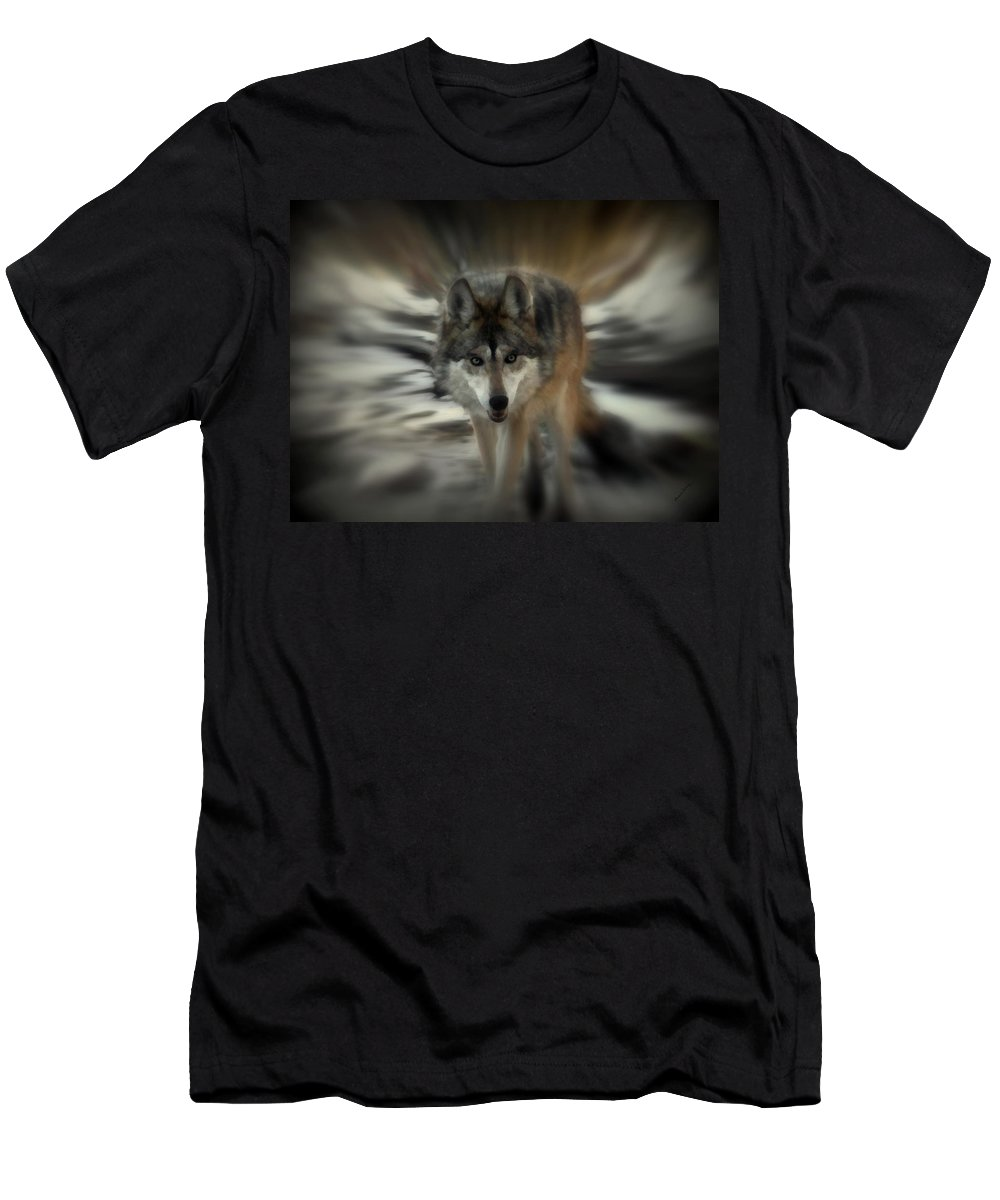 Wolf Men's T-Shirt (Athletic Fit) featuring the photograph Out Of Nowhere 2 by Ernie Echols