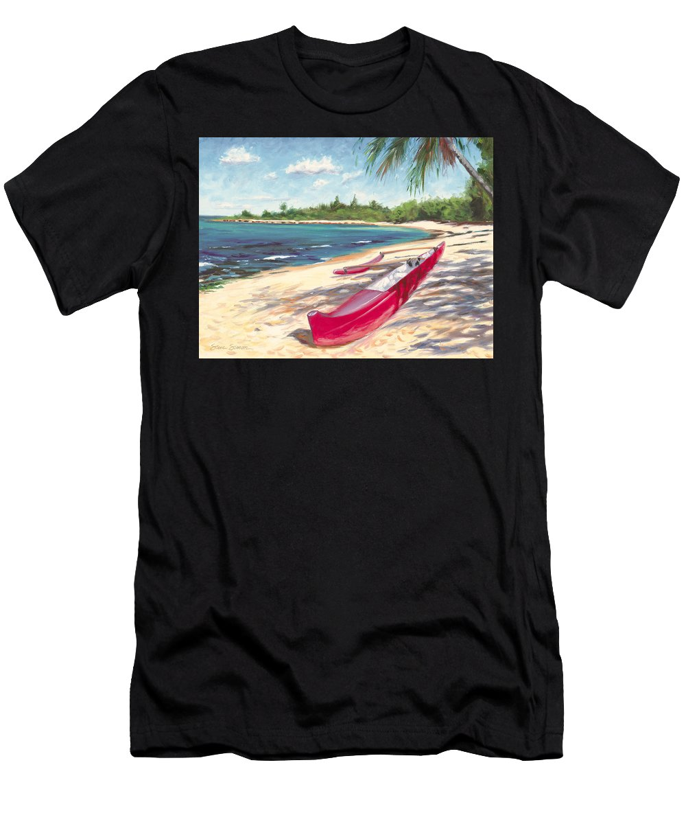 Outrigger Men's T-Shirt (Athletic Fit) featuring the painting Outrigger - Haleiwa by Steve Simon