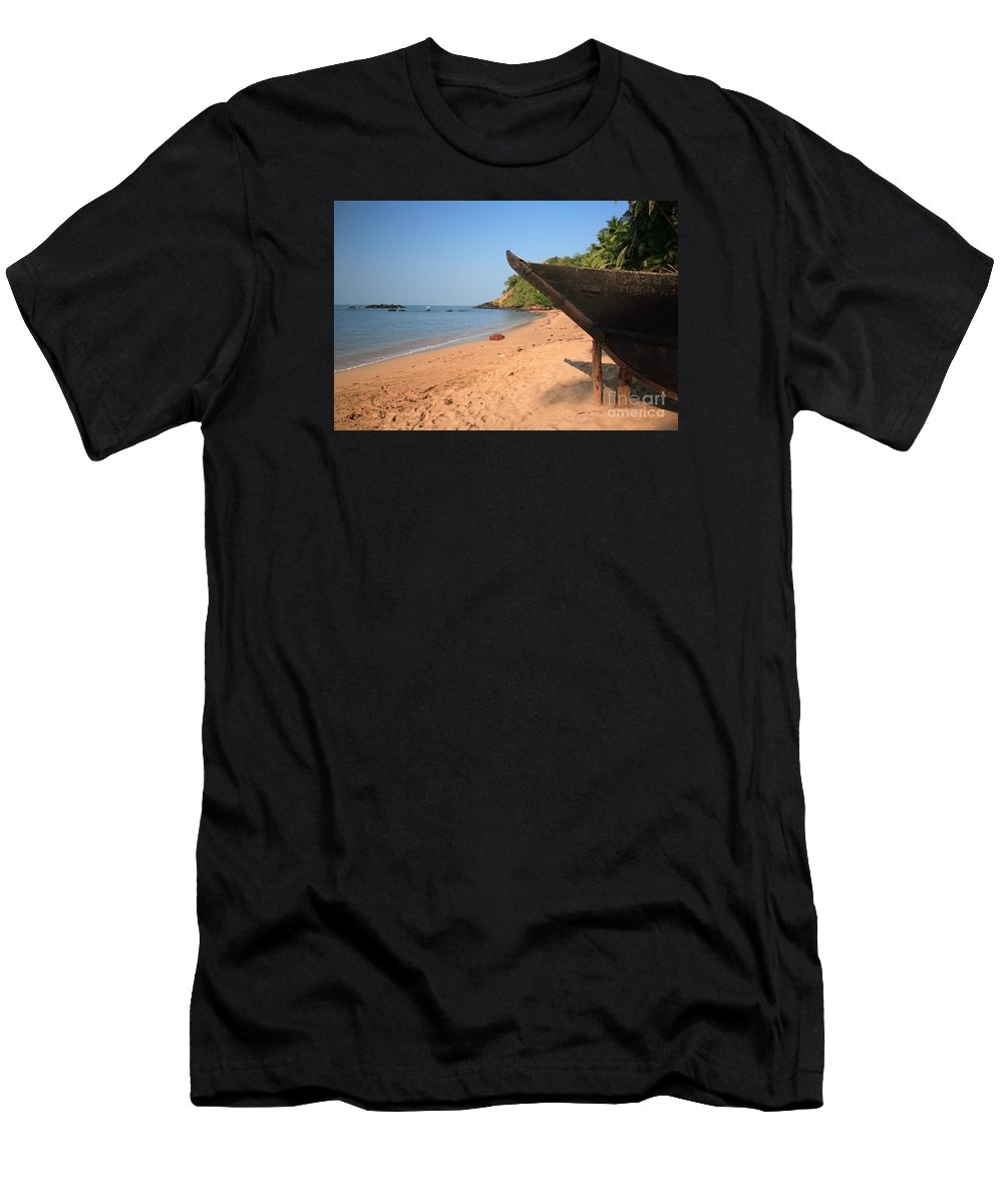 Arabian Sea Men's T-Shirt (Athletic Fit) featuring the photograph Outrigger On Cola Beach by Deborah Benbrook