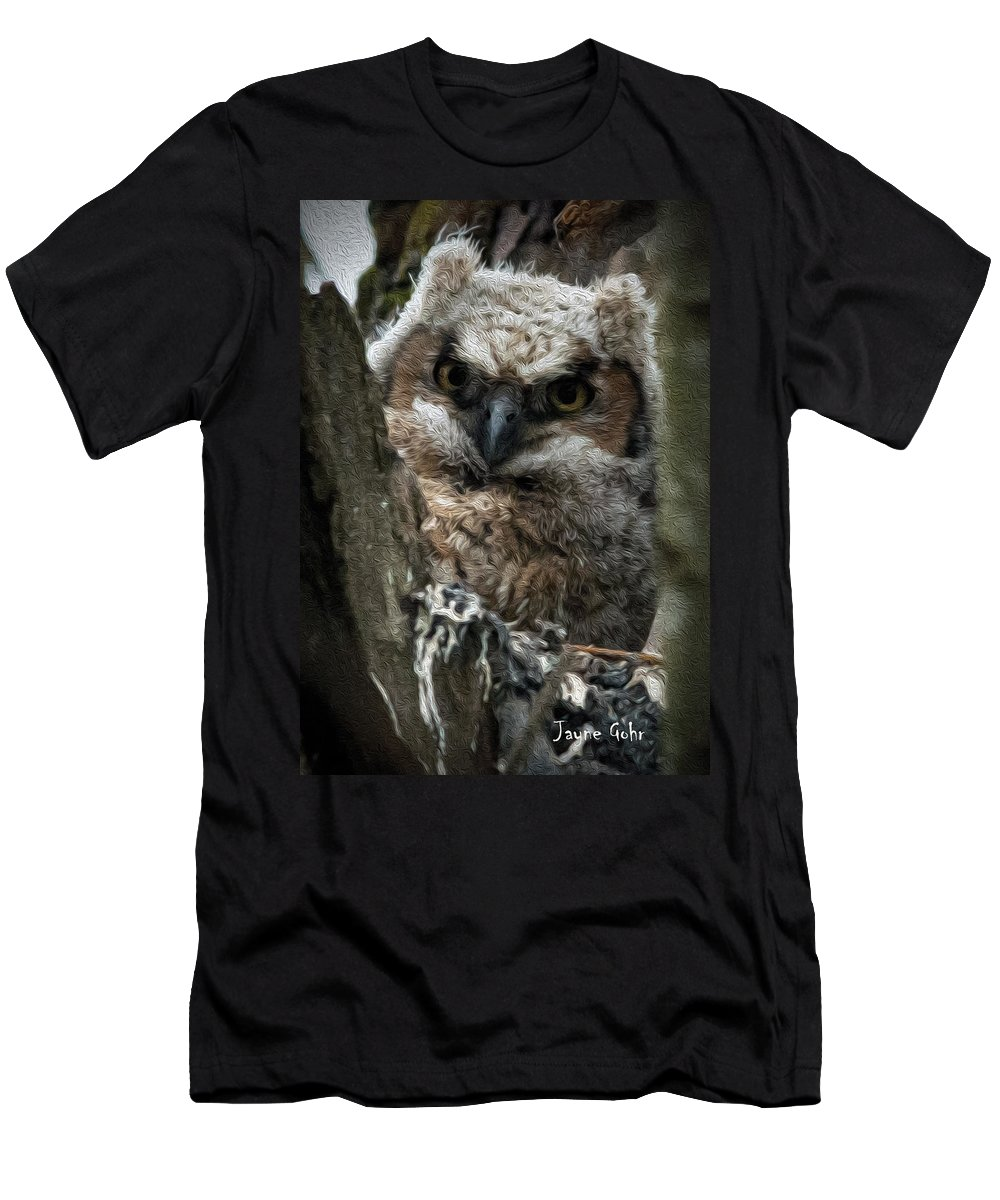 Great Horned Owl Men's T-Shirt (Athletic Fit) featuring the photograph Owlet On The Watch by Jayne Gohr