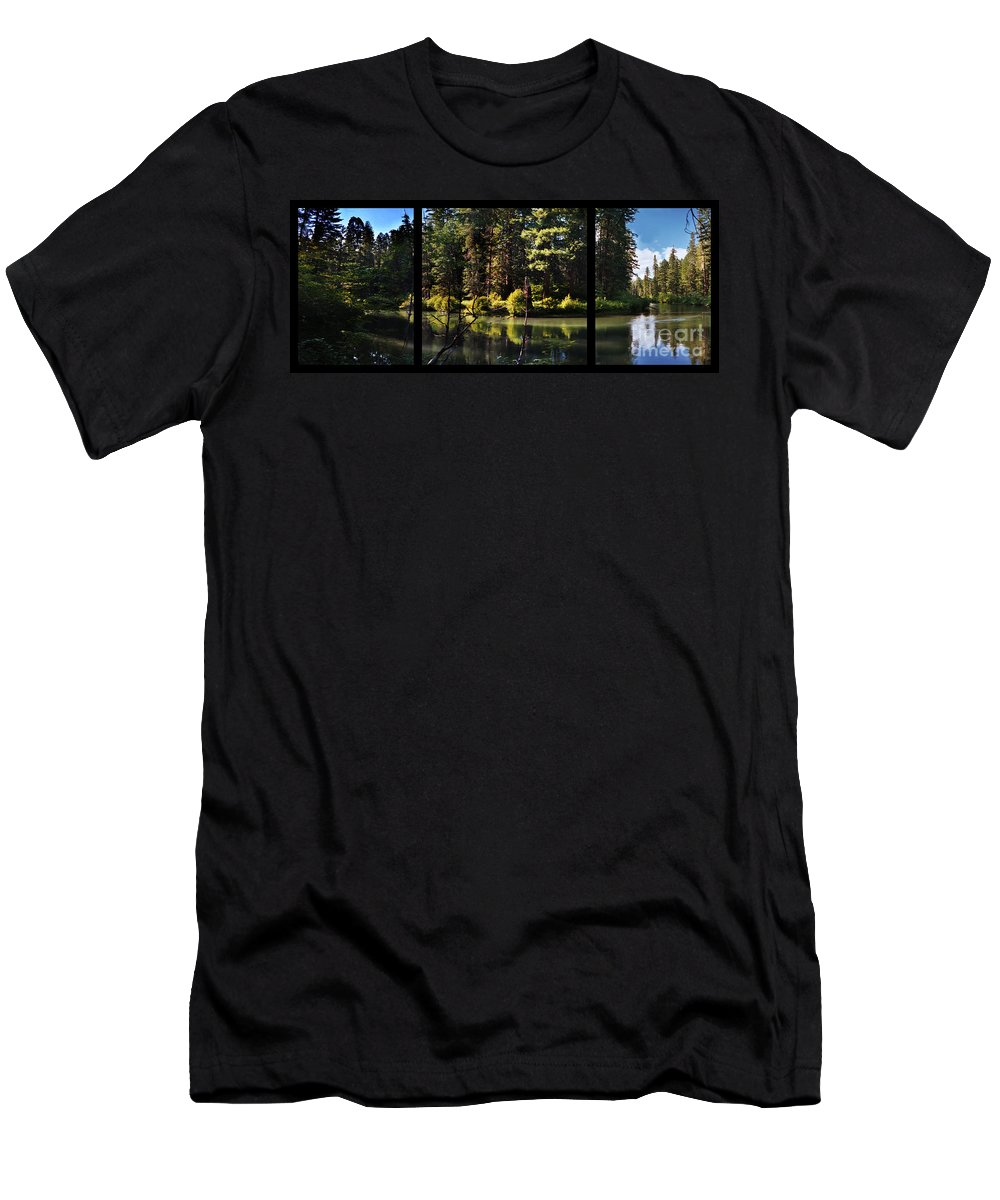 Oxbow Men's T-Shirt (Athletic Fit) featuring the digital art Oxbow Triptych by Peter Piatt