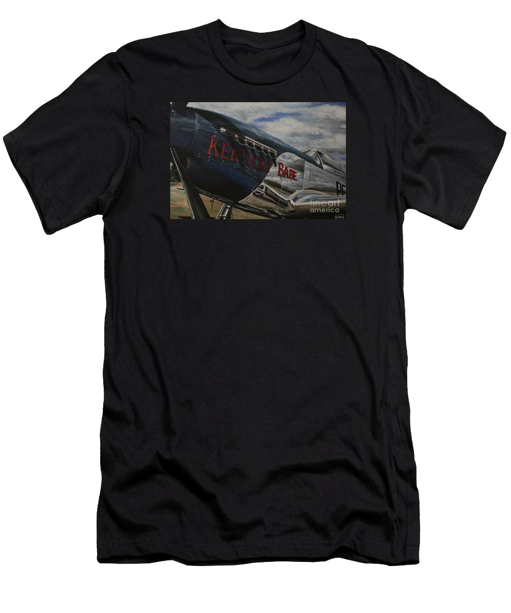 Warbirds Men's T-Shirt (Athletic Fit) featuring the painting P51 Mustang Kentucky Babe Warbird by Richard John Holden RA