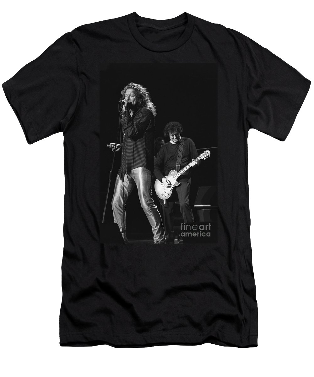 Guitarist Men's T-Shirt (Athletic Fit) featuring the photograph Page And Plant by Concert Photos