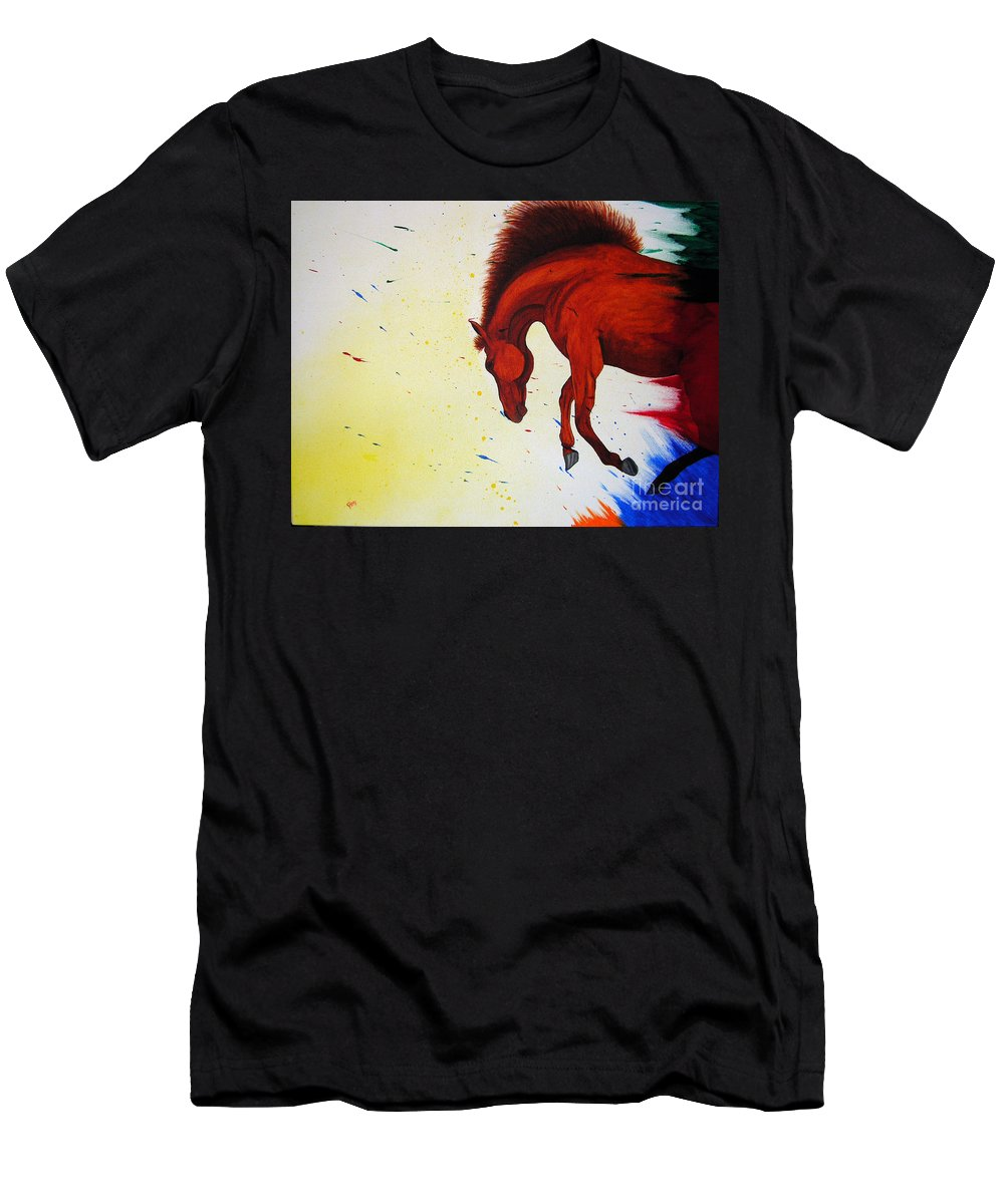 Horse Men's T-Shirt (Athletic Fit) featuring the painting Paint Horse by Kami Catherman