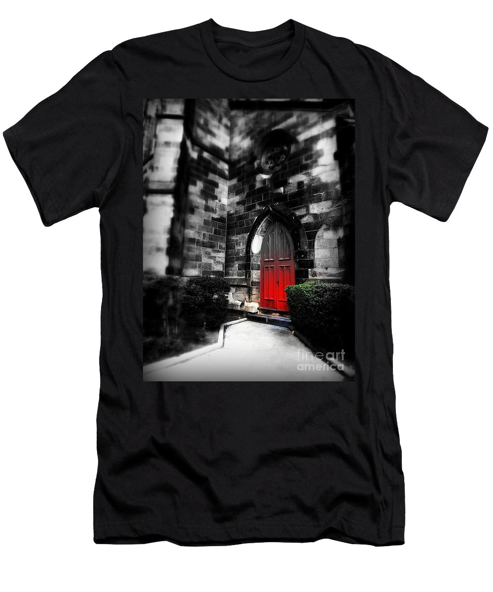 Door Men's T-Shirt (Athletic Fit) featuring the photograph Paint It Black by James Aiken