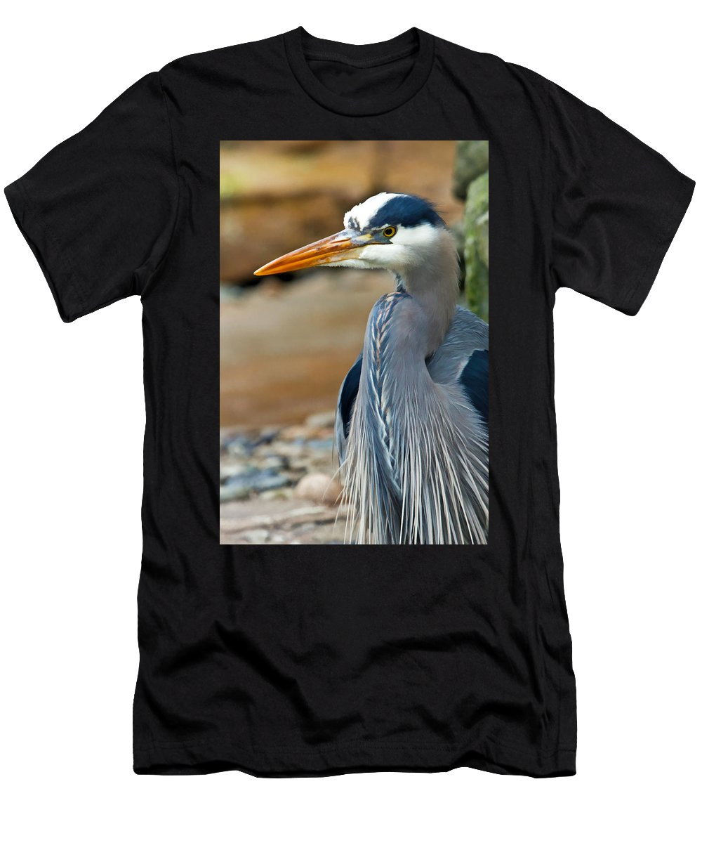 Blue Heron Men's T-Shirt (Athletic Fit) featuring the photograph Painted Blue Heron by Athena Mckinzie