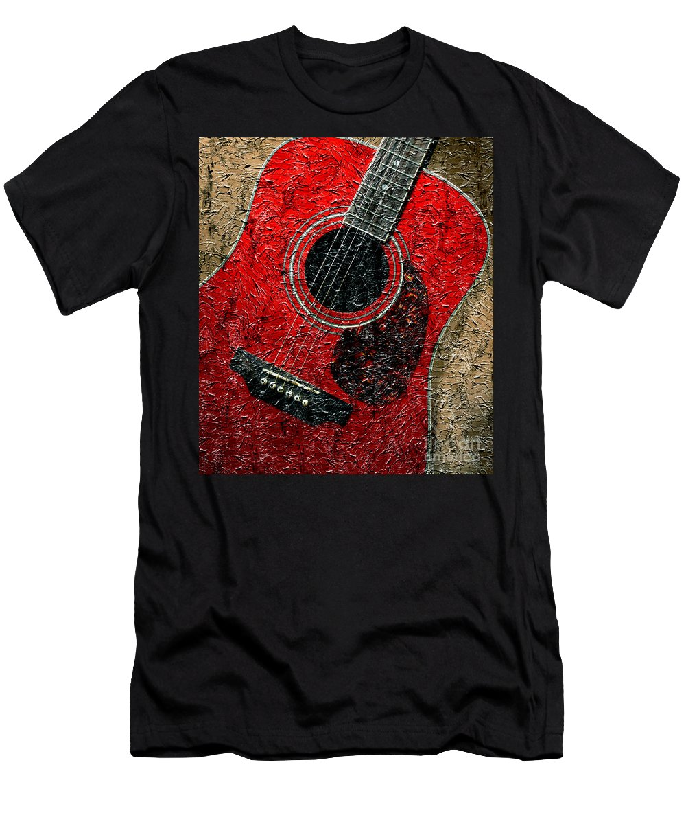 Painted Guitar Men's T-Shirt (Athletic Fit) featuring the photograph Painted Guitar - Music - Red by Barbara Griffin
