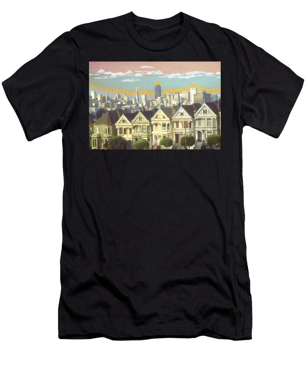 San+francisco Men's T-Shirt (Athletic Fit) featuring the painting San Francisco Alamo Square - Watercolor Illustration by Peter Potter