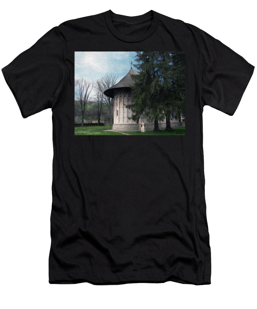 Chapel Men's T-Shirt (Athletic Fit) featuring the painting Painted Monastery by Jeffrey Kolker