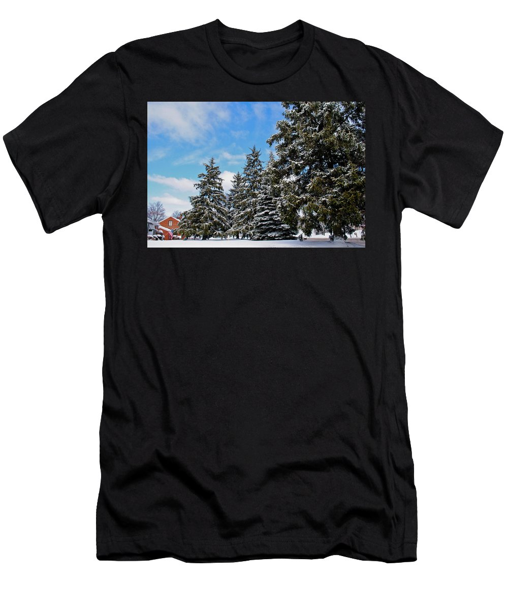 Painted Men's T-Shirt (Athletic Fit) featuring the photograph Painted Pines by Frozen in Time Fine Art Photography
