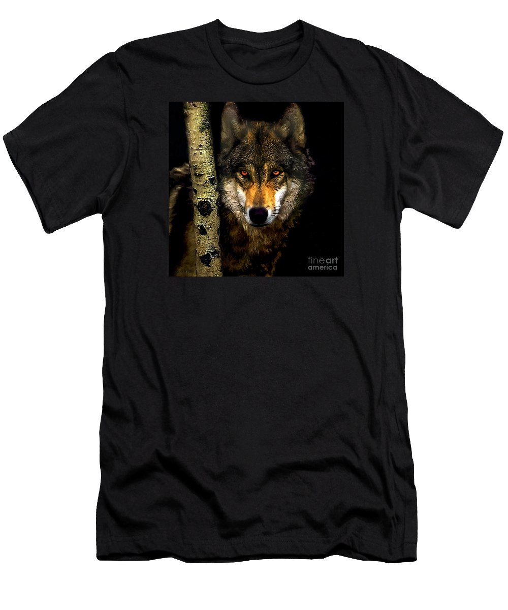 Bobby Men's T-Shirt (Athletic Fit) featuring the painting Painting ... Wolf In Aspen Grove by Bob and Nadine Johnston