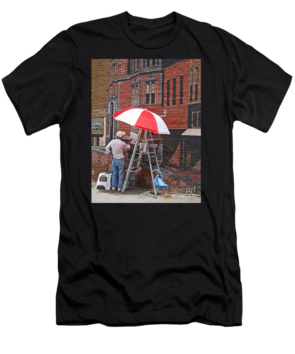 Artist Men's T-Shirt (Athletic Fit) featuring the photograph Painting The Past by Ann Horn
