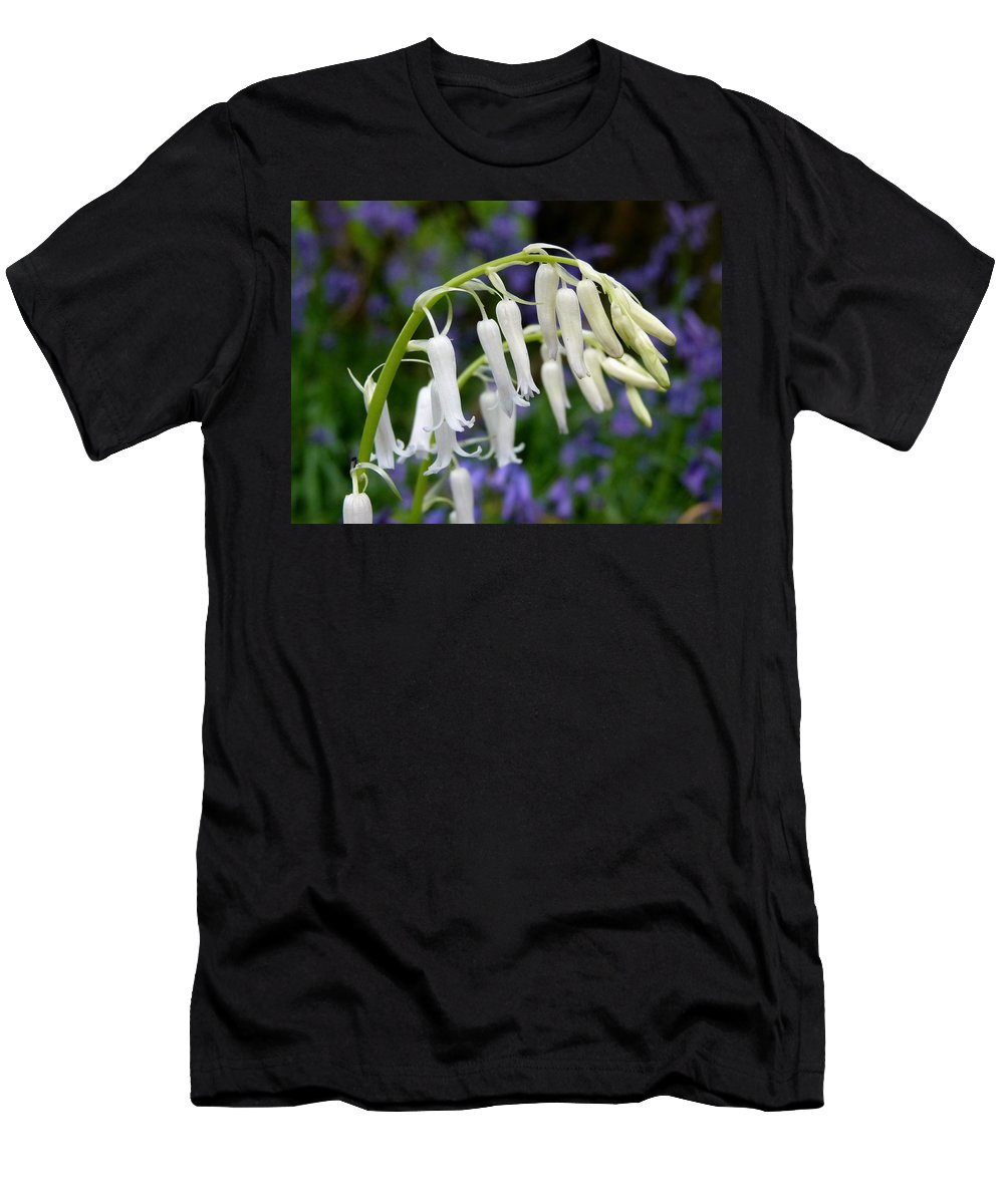 Bluebells Men's T-Shirt (Athletic Fit) featuring the photograph Pair Of White Bluebells by Vanessa Thomas