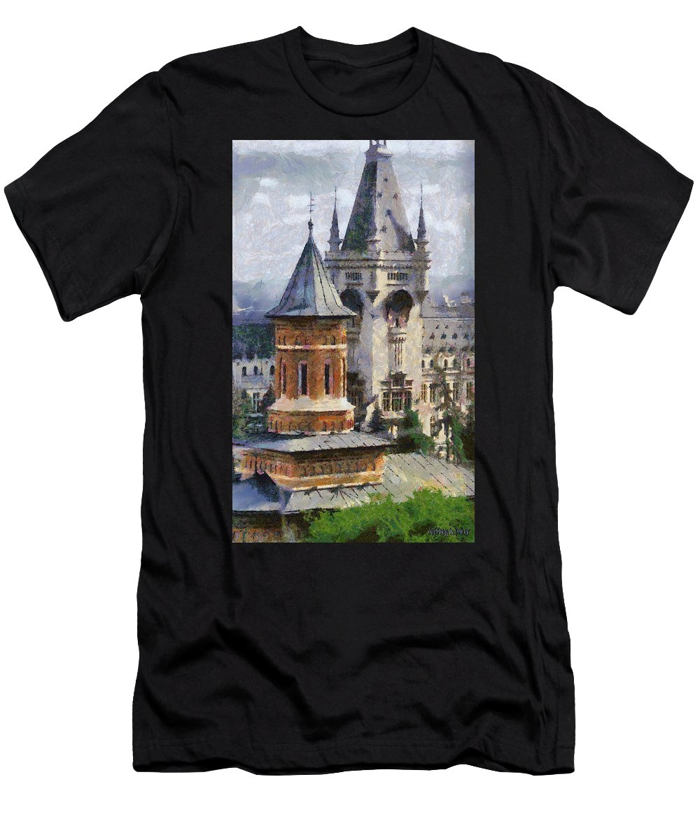 Chapel Men's T-Shirt (Athletic Fit) featuring the painting Palace Of Culture by Jeffrey Kolker