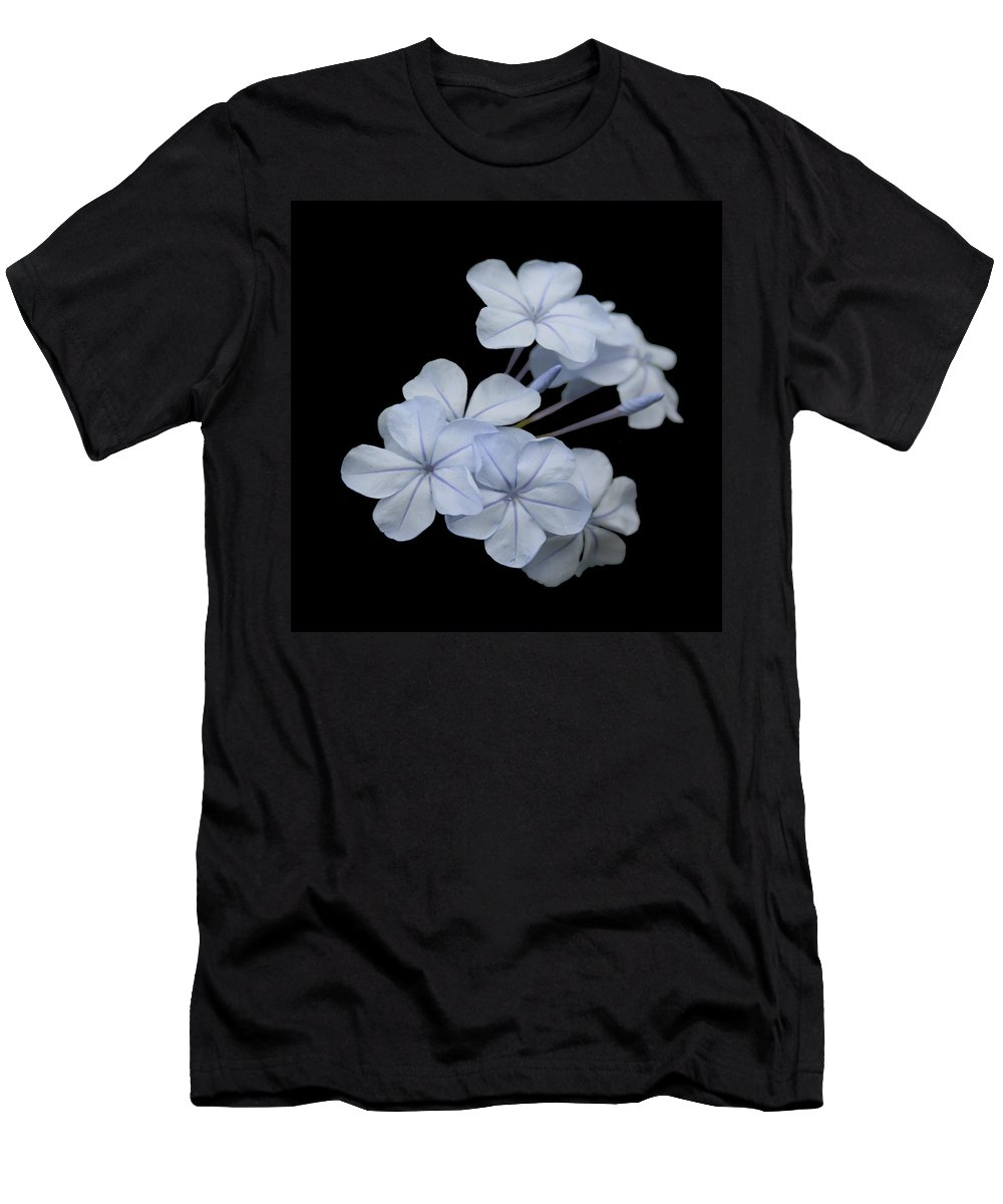 Plumbago Men's T-Shirt (Athletic Fit) featuring the photograph Pale Blue Plumbago Isolated On Black Background by Taiche Acrylic Art