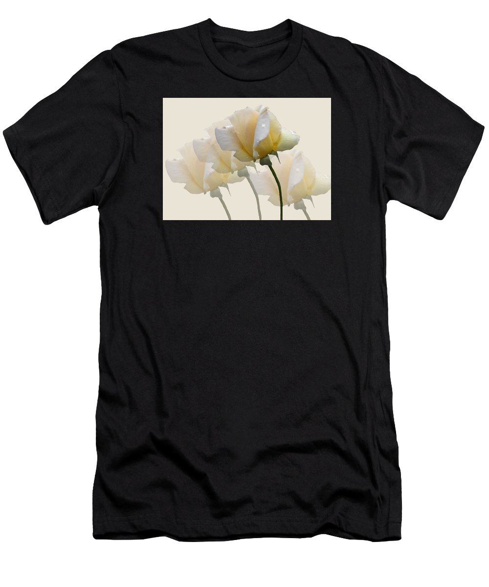 Rose Men's T-Shirt (Athletic Fit) featuring the photograph Pale Yellow by Rosalie Scanlon