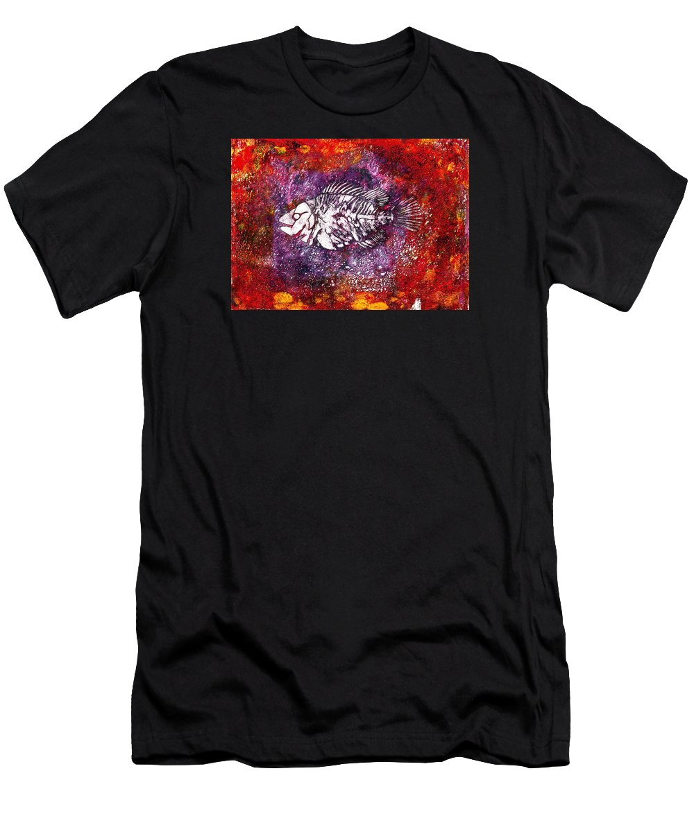Paleo Fish Men's T-Shirt (Athletic Fit) featuring the painting Paleo Fish by Bellesouth Studio