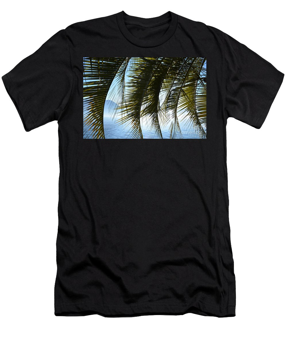 Palm Men's T-Shirt (Athletic Fit) featuring the photograph Palm Leaves by Mats Silvan