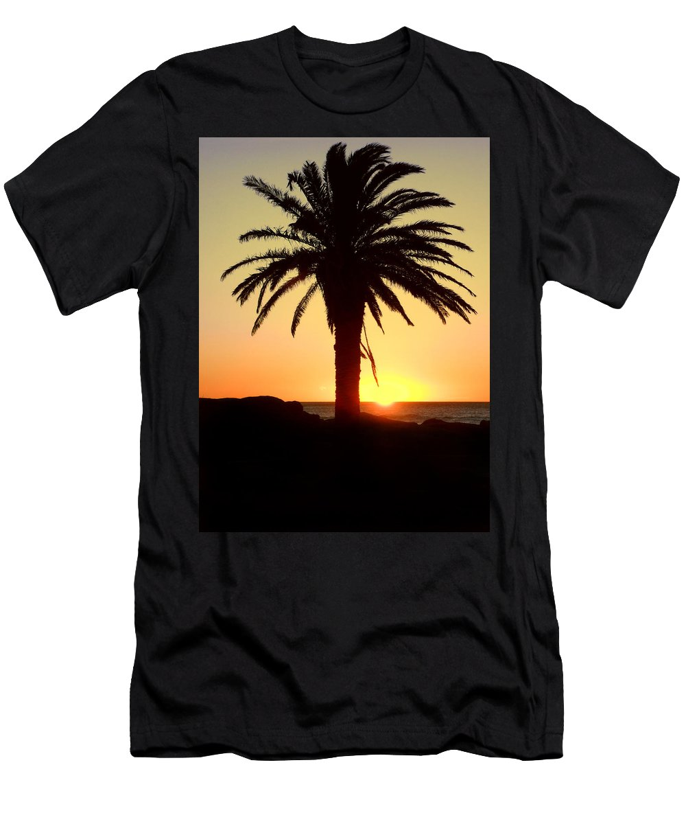 Background Men's T-Shirt (Athletic Fit) featuring the photograph Palm Sunset by Paul Fell