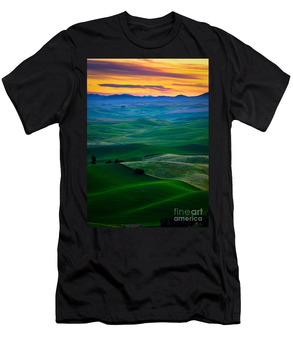 America Men's T-Shirt (Athletic Fit) featuring the photograph Palouse Velvet by Inge Johnsson