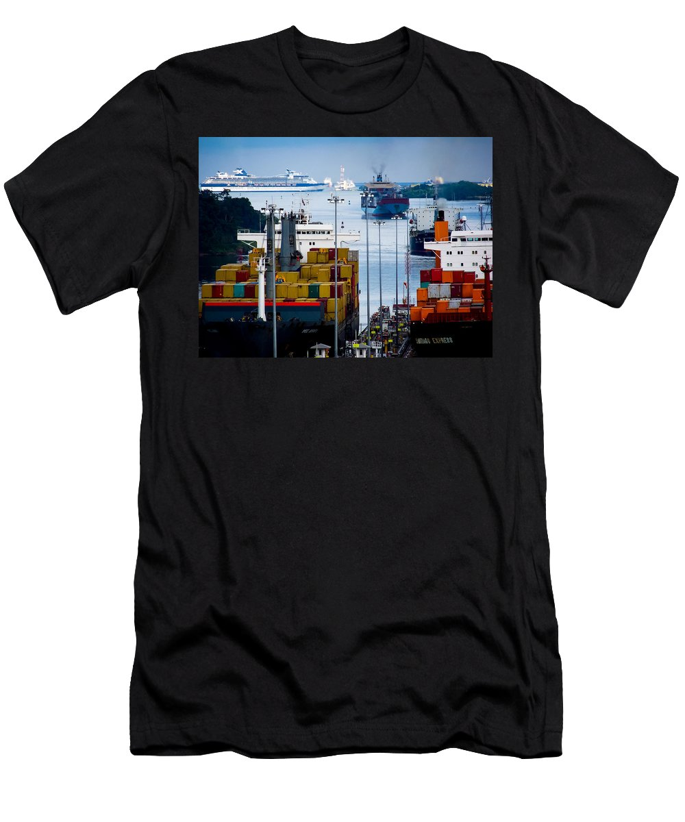Panama Canal T-Shirt featuring the photograph Panama Canal Express by Karen Wiles