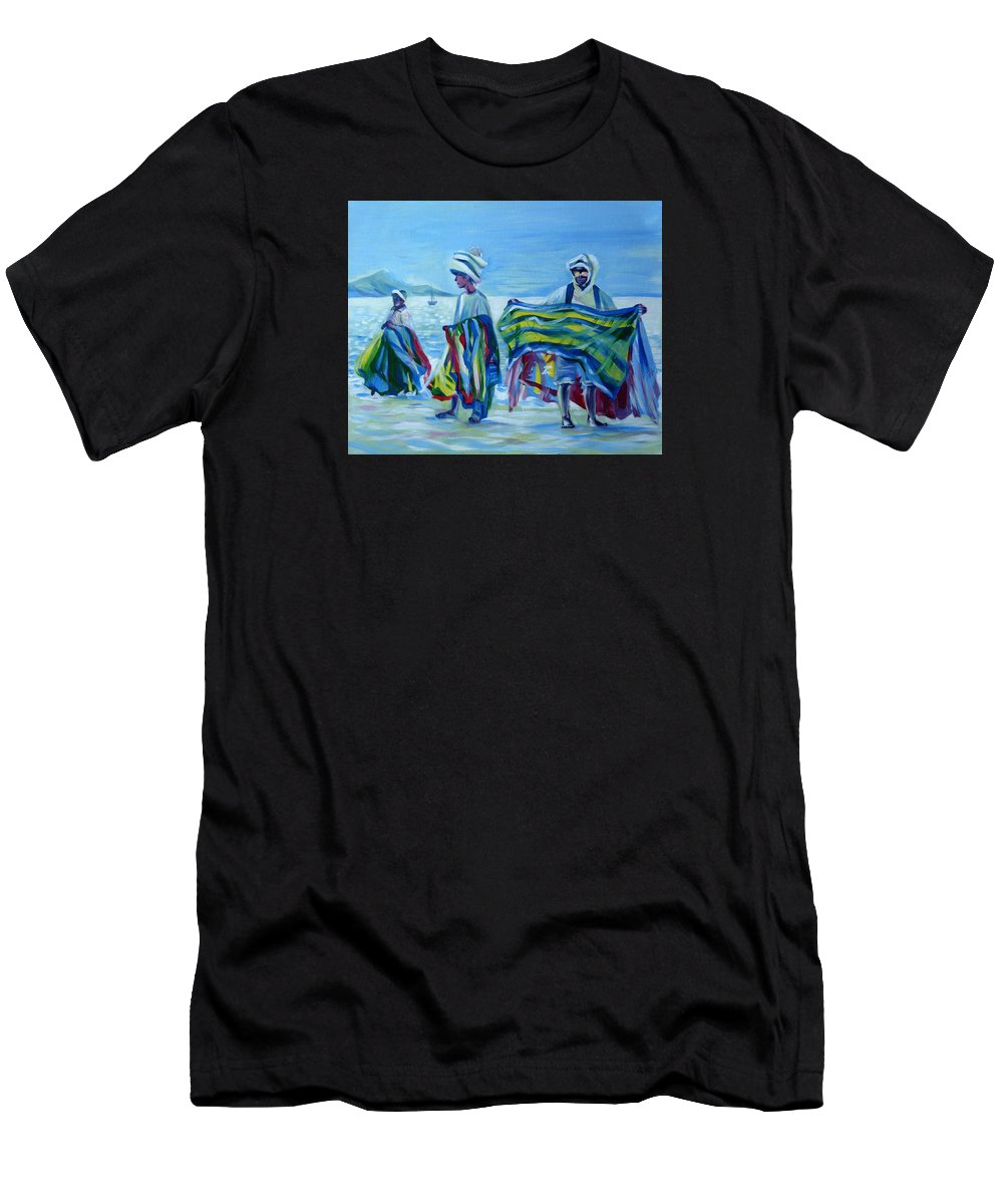 Tropical Men's T-Shirt (Athletic Fit) featuring the painting Panama.beach Market by Anna Duyunova