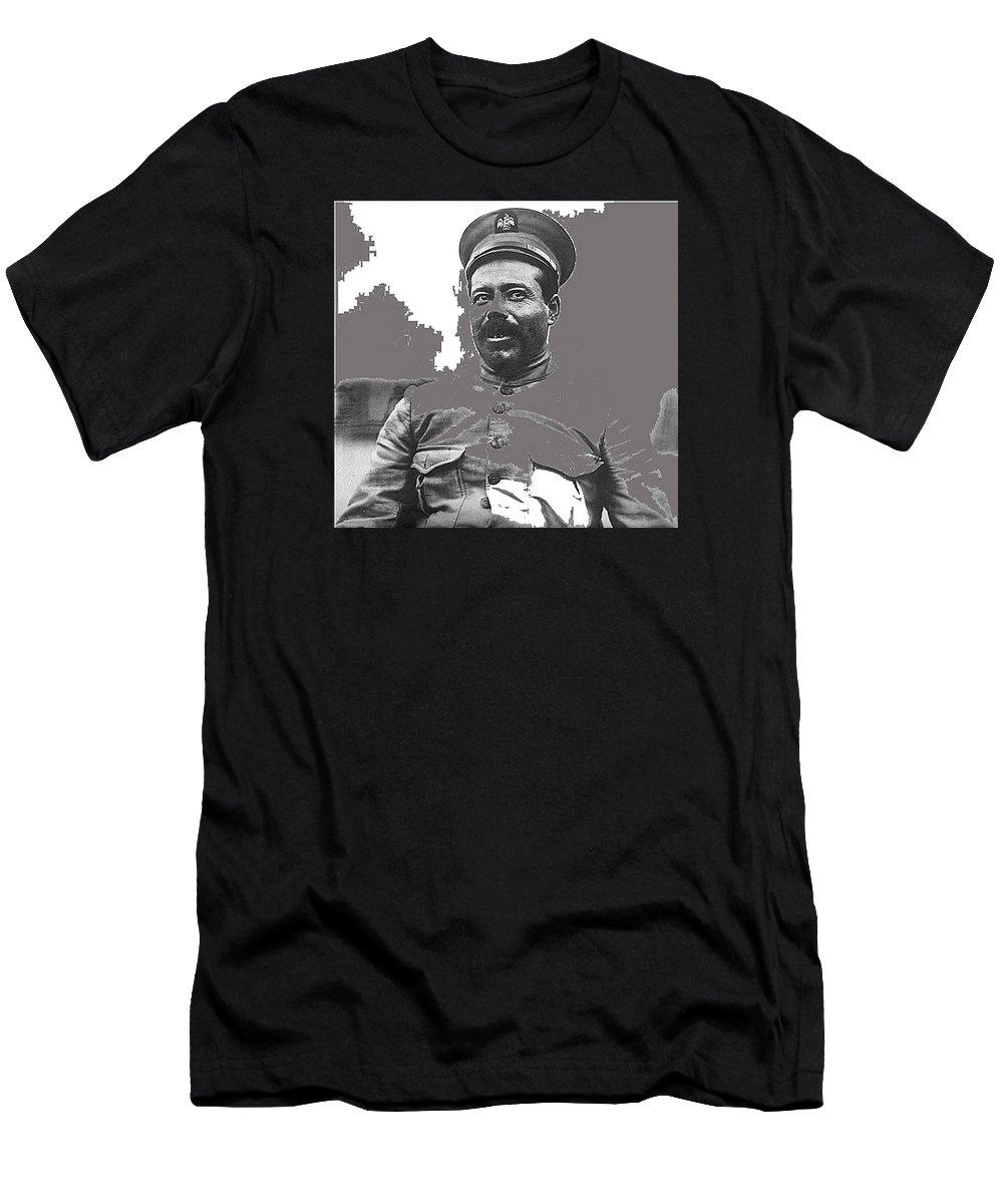 Pancho Villa Portrait In Military Uniform No Location Or Date Men's T-Shirt (Athletic Fit) featuring the photograph Pancho Villa Portrait In Military Uniform No Location Or Date-2013 by David Lee Guss