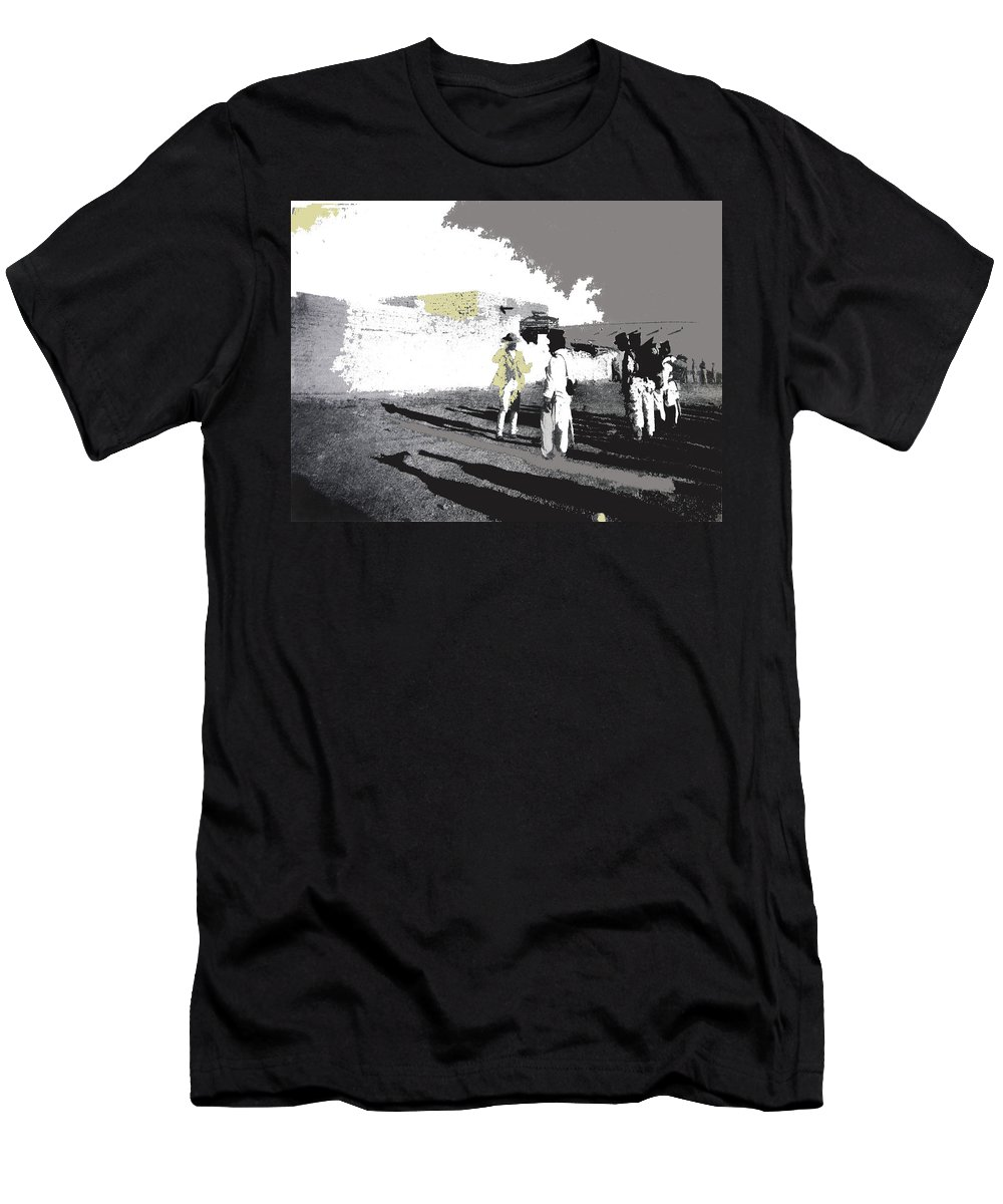 Pancho Villa Talking To Firing Squad Sonora C.1914 Men's T-Shirt (Athletic Fit) featuring the photograph Pancho Villa Talking To Firing Squad Sonora C.1914-2013 by David Lee Guss