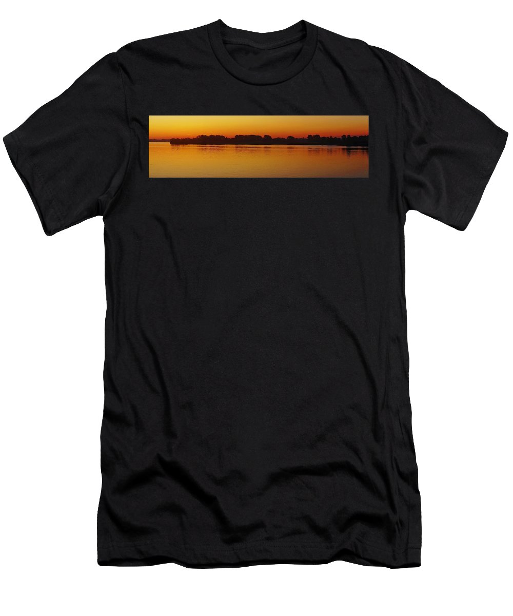 Detroit River Men's T-Shirt (Athletic Fit) featuring the photograph Pano Dawn Aug. 3 2013 by Daniel Thompson