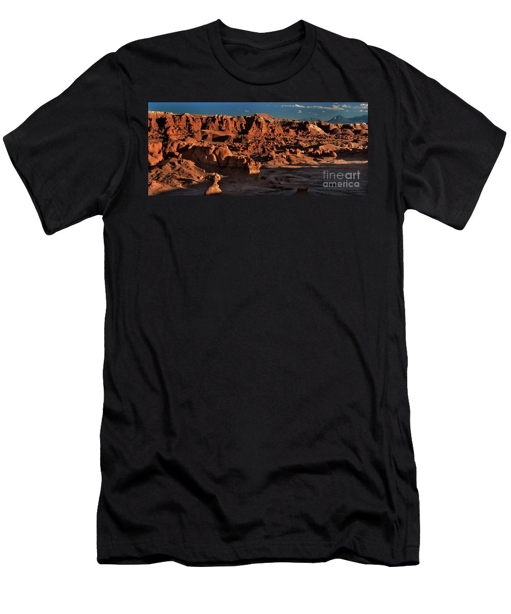 North America Men's T-Shirt (Athletic Fit) featuring the photograph Panorama Of Hoodoos At Sunset Goblin Valley State Park Utah by Dave Welling