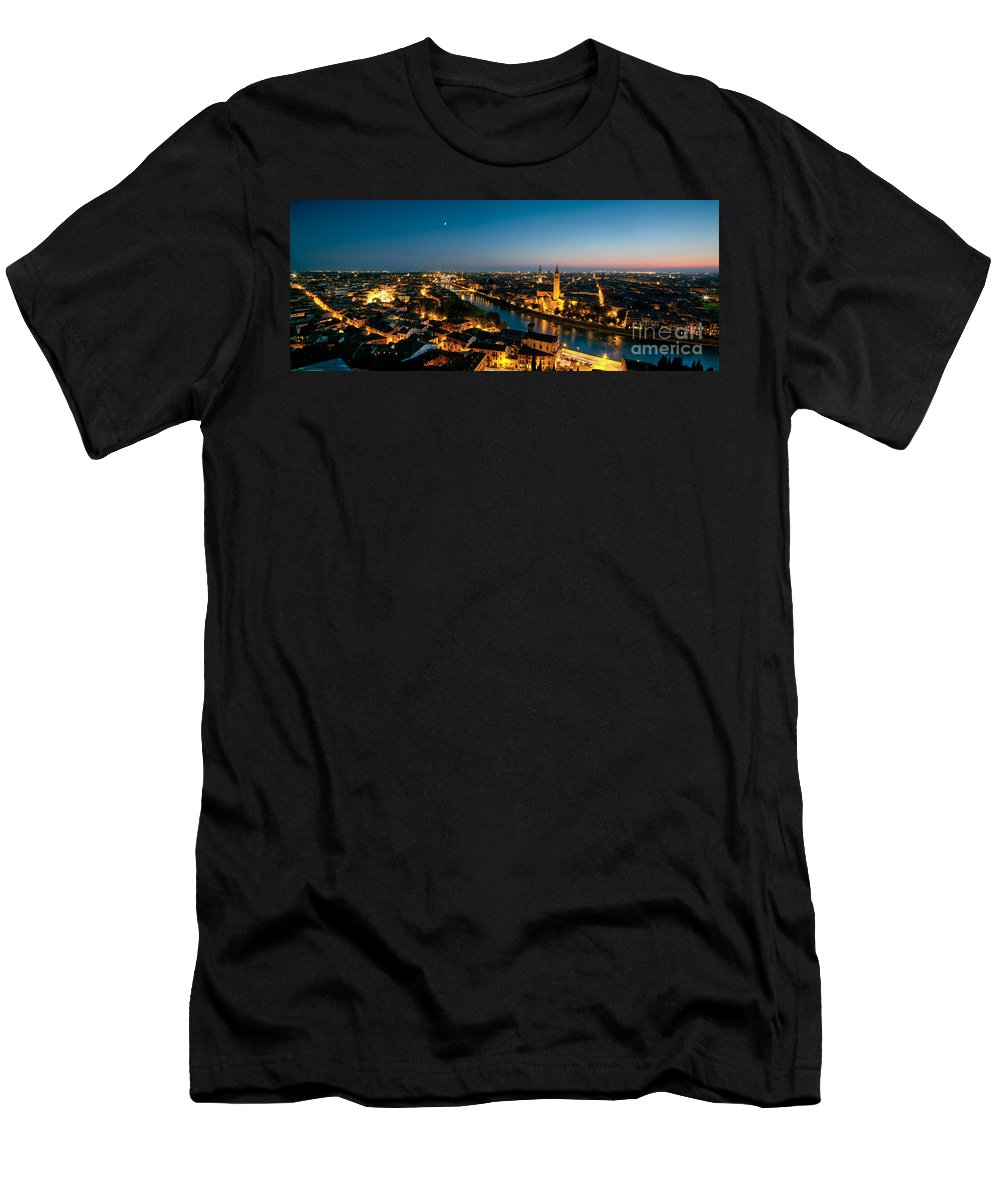 Autumn Men's T-Shirt (Athletic Fit) featuring the photograph Panoramic Of Verona At Dusk by Matteo Colombo