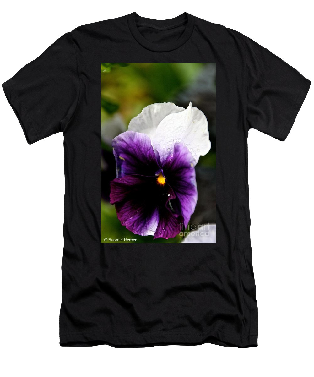 Flower Men's T-Shirt (Athletic Fit) featuring the photograph Pansy Breezes by Susan Herber