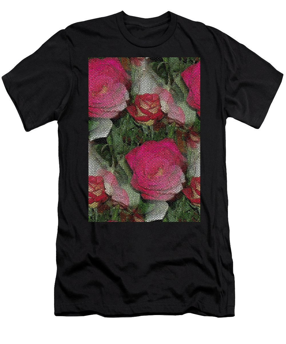 Abstract Men's T-Shirt (Athletic Fit) featuring the photograph Paper Roses by Barbara S Nickerson