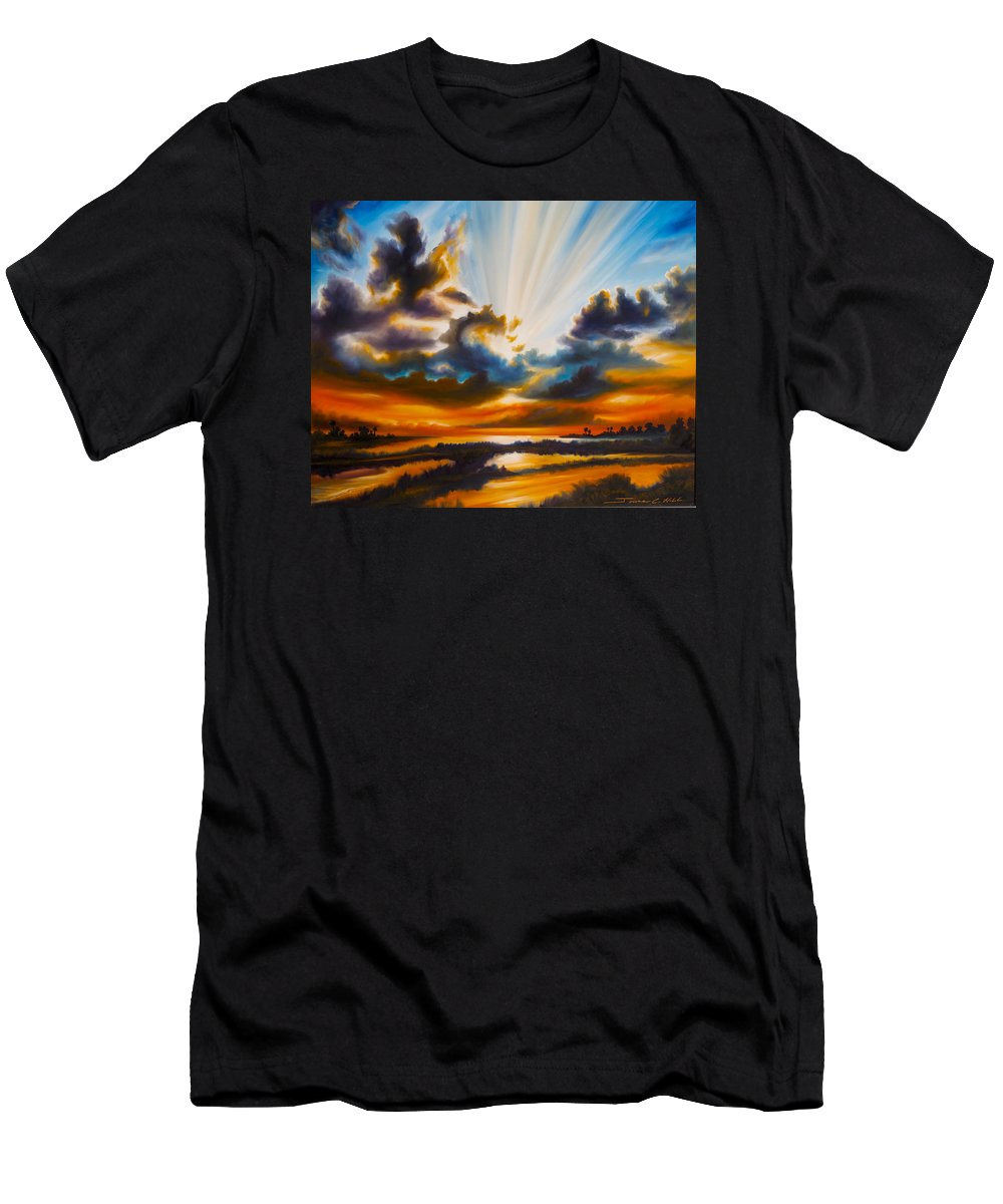 Sunrise T-Shirt featuring the painting Paradise by James Christopher Hill