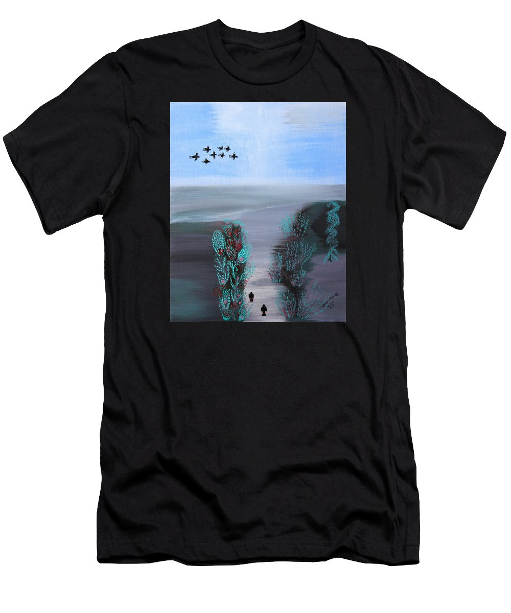 Abstract Men's T-Shirt (Athletic Fit) featuring the painting Paradise by Lorna Maza