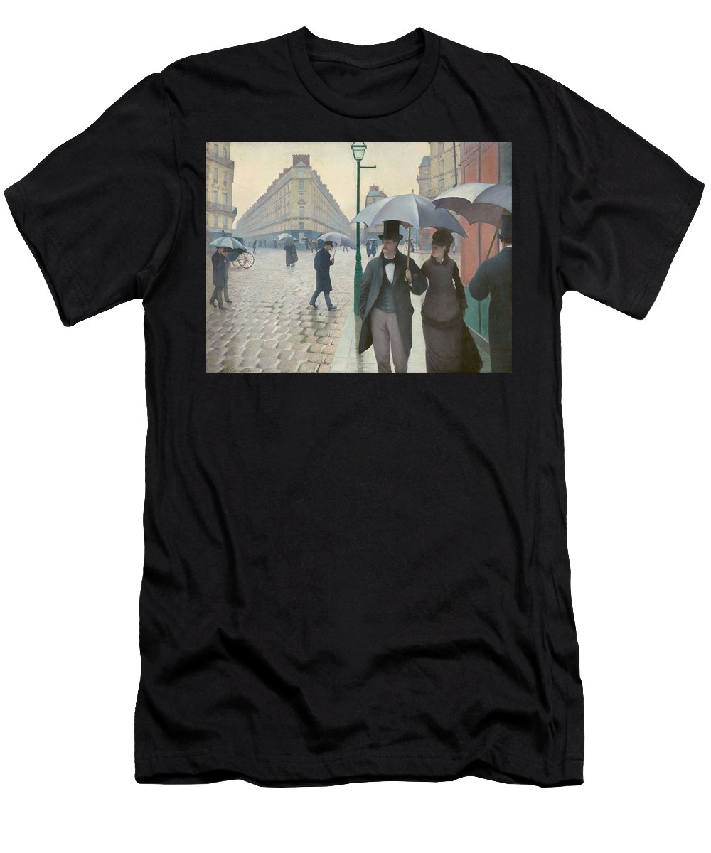 Gustave Caillebotte Men's T-Shirt (Athletic Fit) featuring the painting Paris Street In Rainy Weather by Gustave Caillebotte