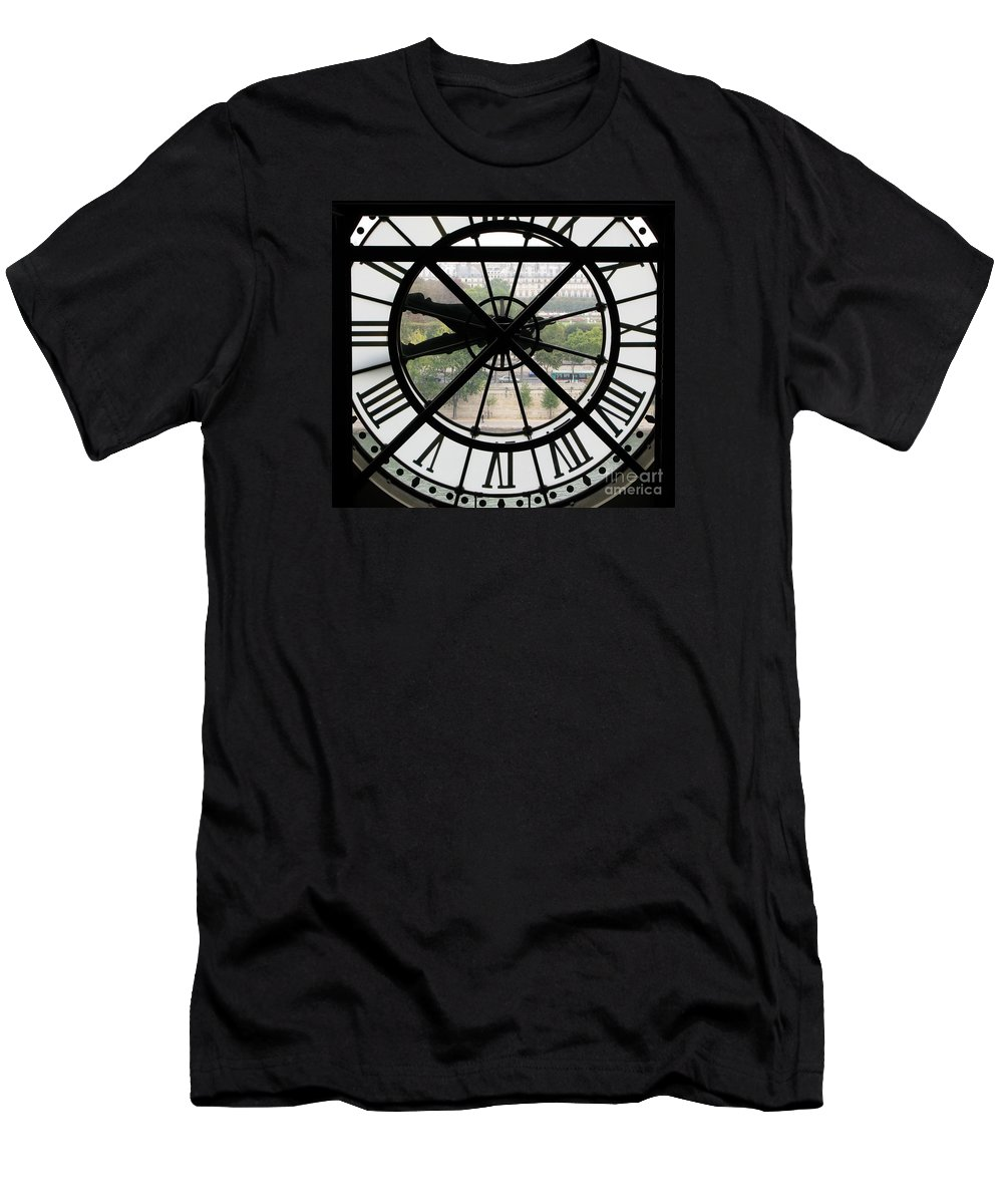 Clock Men's T-Shirt (Athletic Fit) featuring the photograph Paris Time by Ann Horn