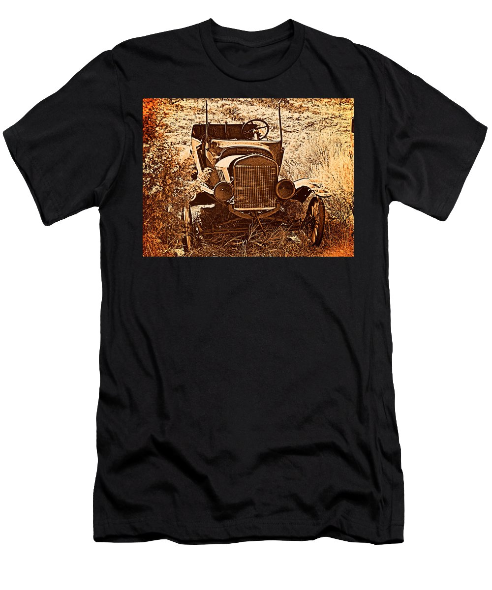Aged Men's T-Shirt (Athletic Fit) featuring the photograph Parked 2 by Leland D Howard