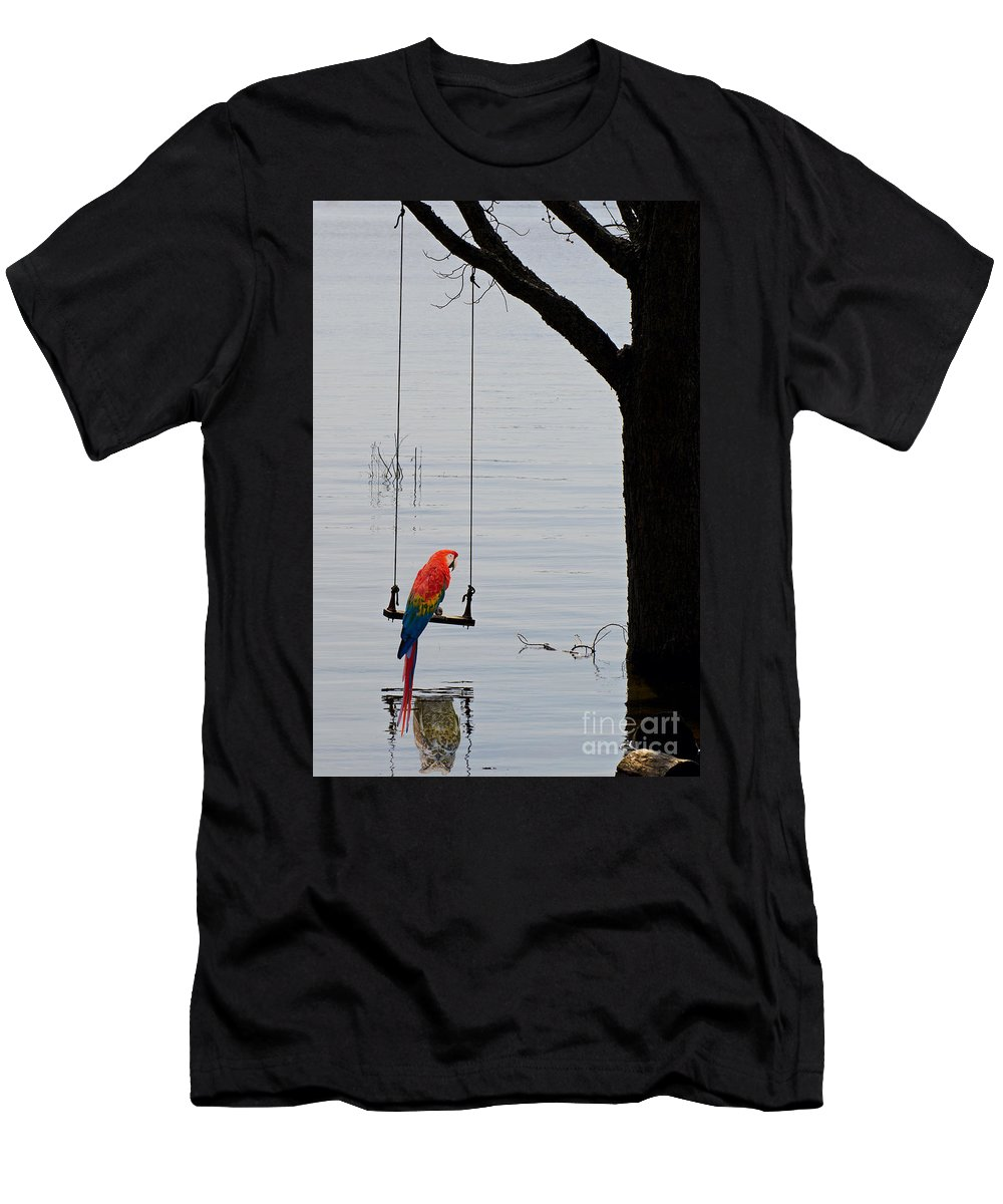 Tree Men's T-Shirt (Athletic Fit) featuring the photograph Parrot On A Swing by Les Palenik