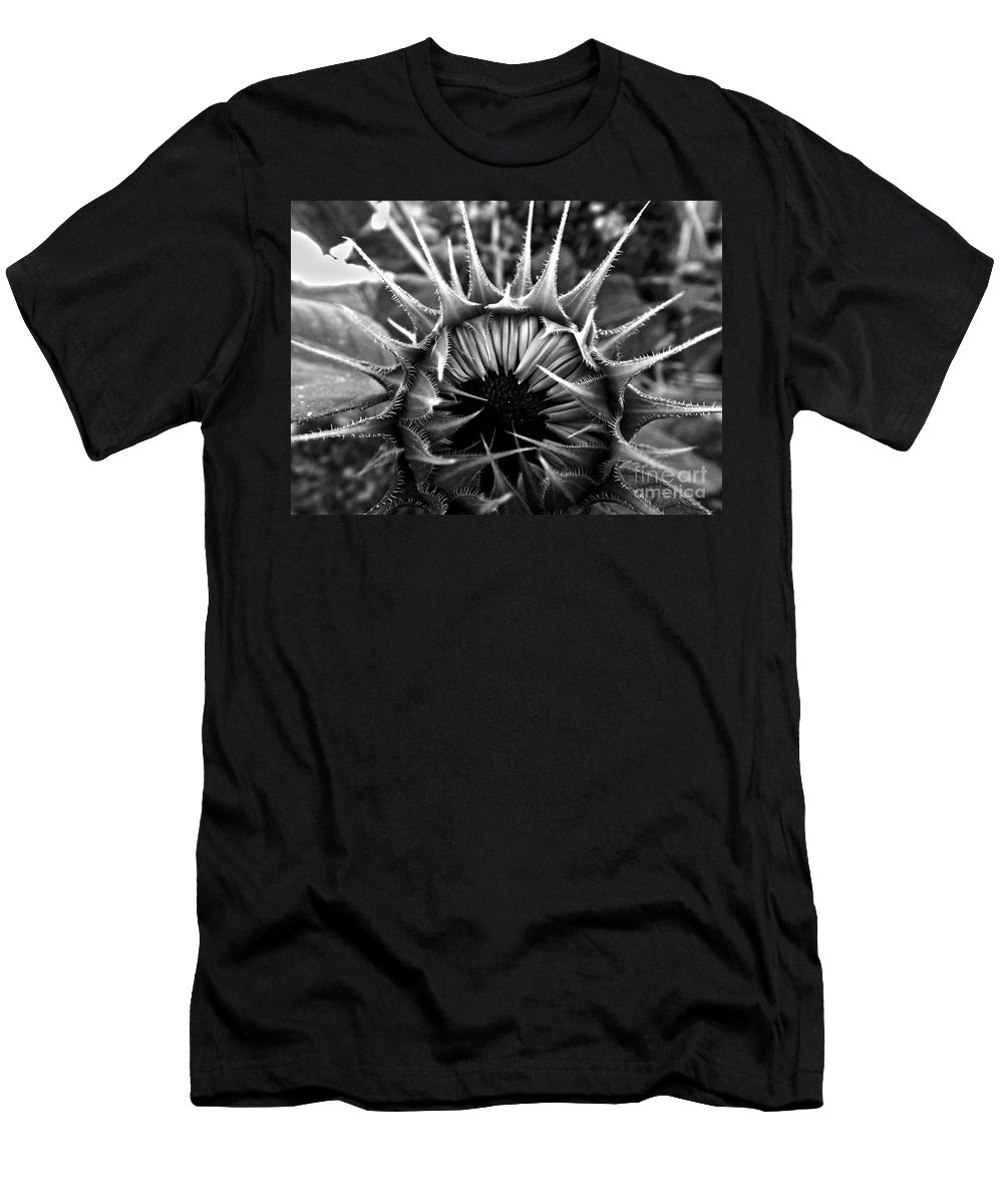 Sunflower Men's T-Shirt (Athletic Fit) featuring the photograph Partial Eclipse Of The Sunflower - Bw by James Aiken