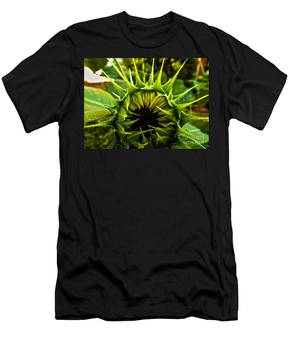 Sunflower Men's T-Shirt (Athletic Fit) featuring the photograph Partial Eclipse Of The Sunflower by James Aiken
