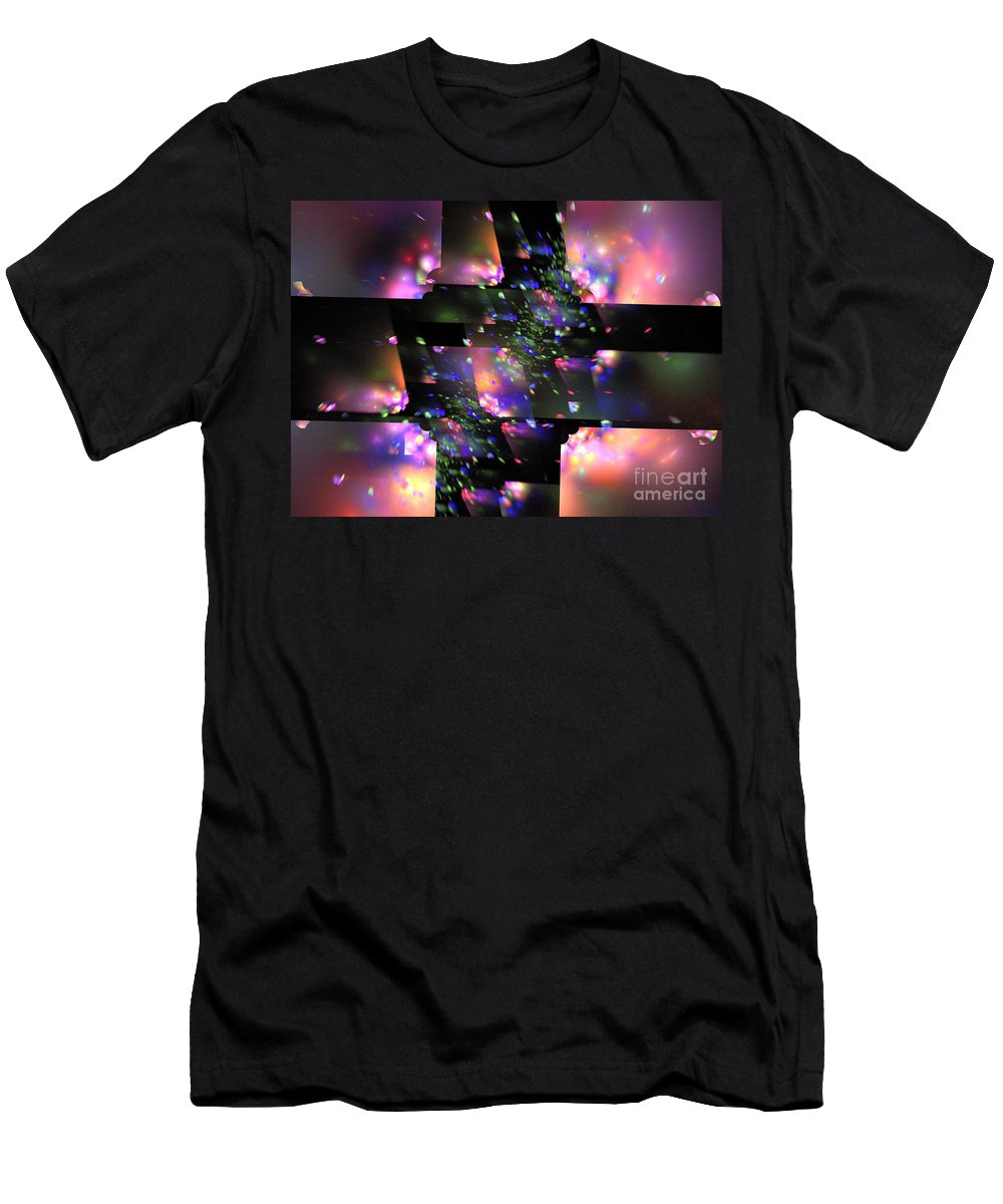 Apophysis Men's T-Shirt (Athletic Fit) featuring the digital art Particle Accelerator by Kim Sy Ok
