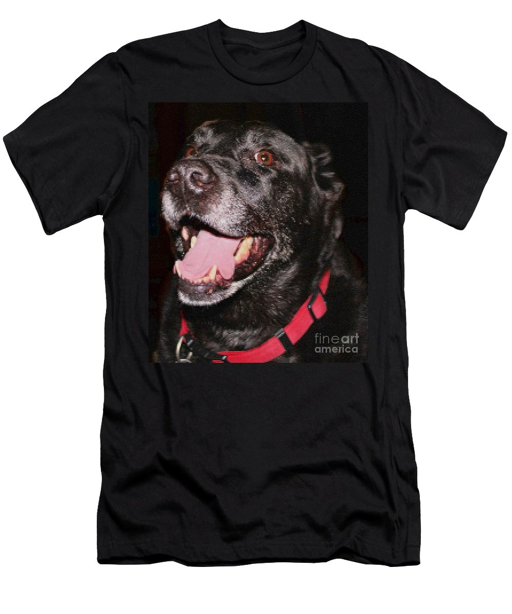 Patchwork Black Lab Closeup Men's T-Shirt (Athletic Fit) featuring the photograph Patchwork Black Lab Closeup by Barbara Griffin
