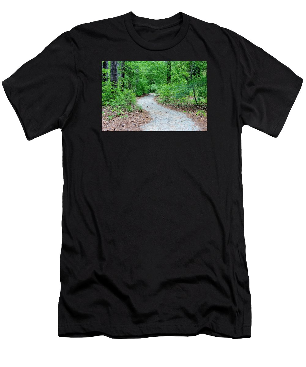 Wood Men's T-Shirt (Athletic Fit) featuring the photograph Path Through The Woods by Cynthia Guinn
