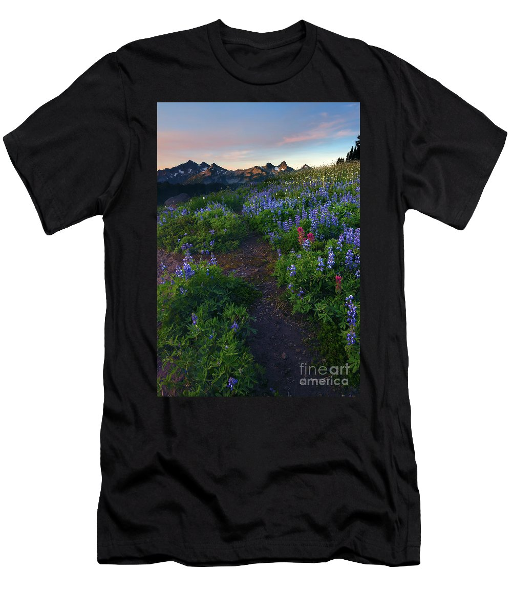 Tatoosh Men's T-Shirt (Athletic Fit) featuring the photograph Path To Tatoosh by Mike Dawson