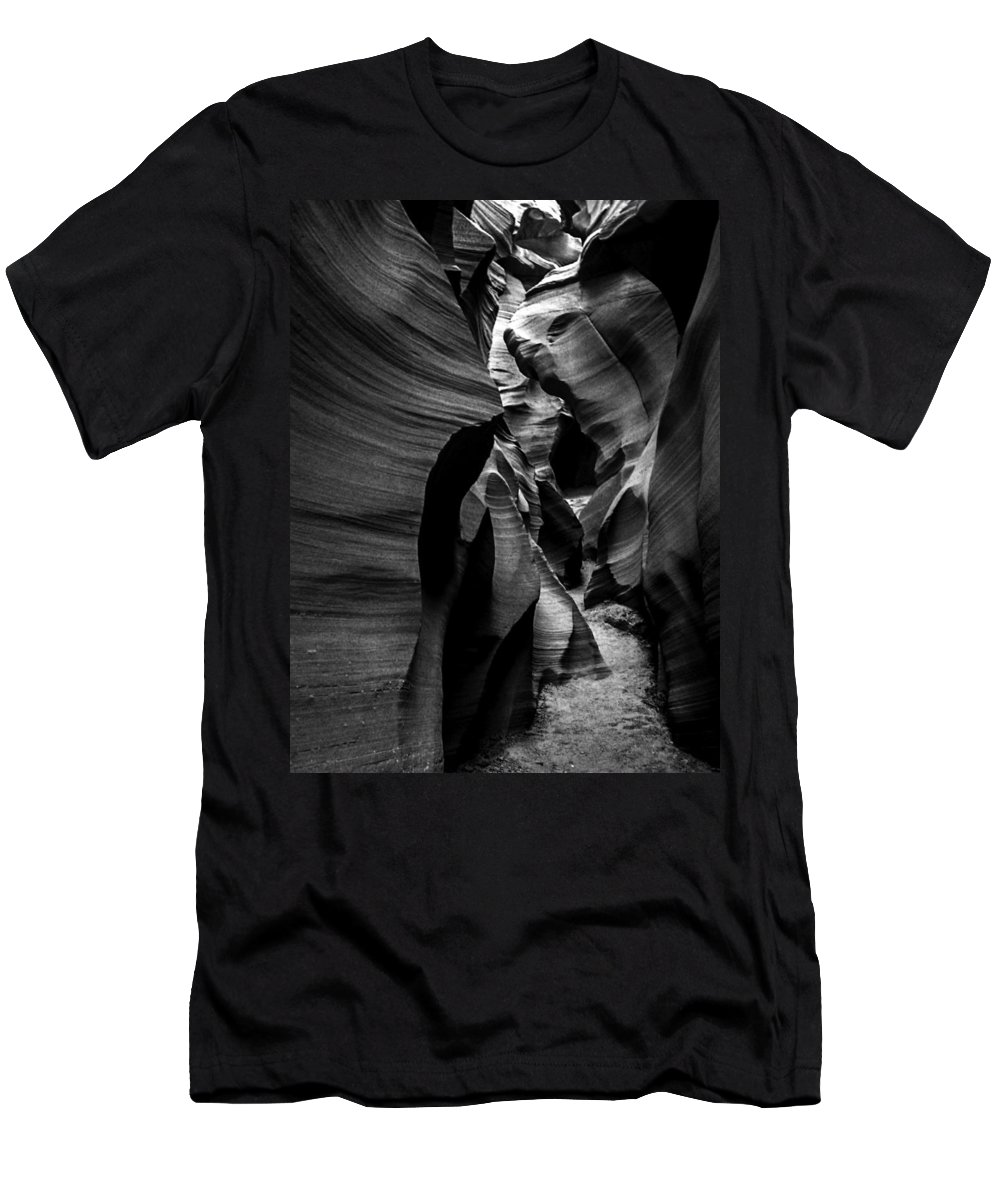 B&w Men's T-Shirt (Athletic Fit) featuring the mixed media Path To The Underworld by Lovejoy Creations