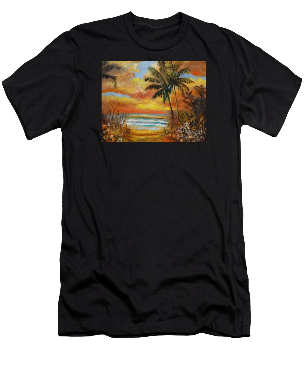 Tropical Sunset Print Men's T-Shirt (Athletic Fit) featuring the painting Pathway To The Beach 11 by Jenny Lee